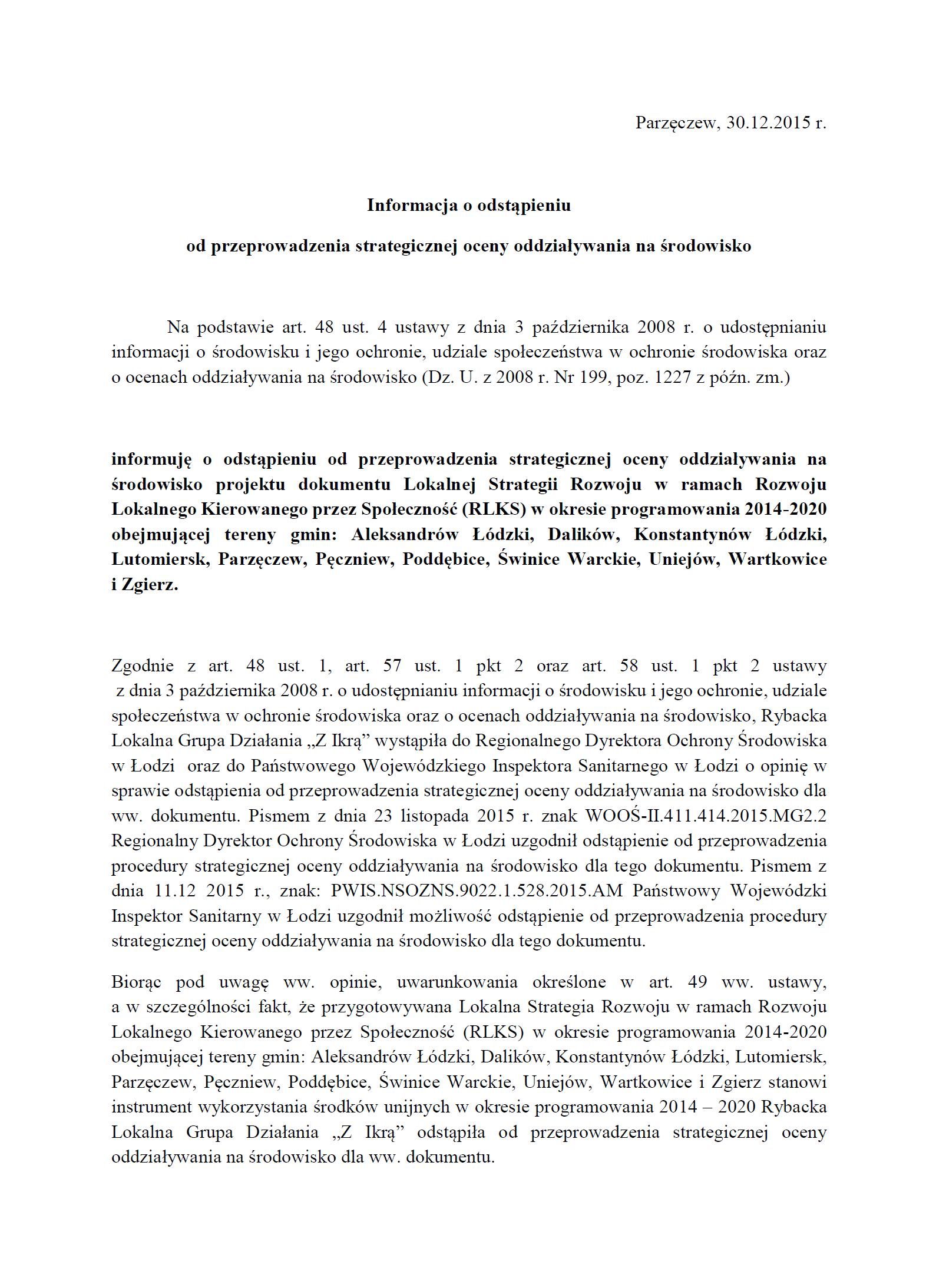 Informacja o odstąpieniu od przeprowadzenia strategicznej oceny RLGD2